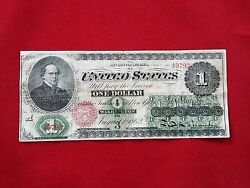 Fr-16c 1862 Series 1 One Dollar Us Legal Tender Note Chase Greenback F-vf