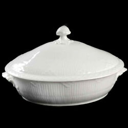 Royal Copenhagen White Half Lace Fluted Covered Vegetable Tureen New Never Used
