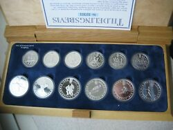 Norway 1994 Winter Olympics 50100 Kroner 12 Silver Proof Coins Set Wooden Box
