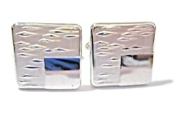 Cufflinks Signed Swank Chrome And Modernist Raised Design Can Be Monogrammed