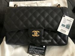 Chanel Authentic New Classic Grained Calfskin Large Black Flap Bag