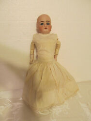 Antique Bisque Doll With Leather Body Made In Germany + Clothing