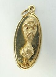 14k Yellow Gold Detailed Bird Whoand039s Worried Charm Pendant 1.3 6.8g D7552
