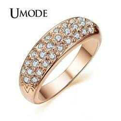 UMODE Rose Gold Colour Studded Finger Ring - Ladies  Women's - Clear Crystals