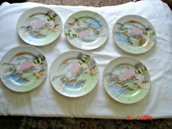 Beautiful Vintage Hand Painted Japanese Porcelain Small Set Of 6 Plates.
