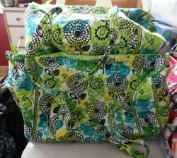 Vera Bradley Large And Small Duffel Bag Set In Limes Up Pattern