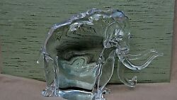 MURANO PINO SIGNORETTO ITALY ART GLASS ELEPHANT SCULPTURE SIGNED ON BOTTOM 1944c