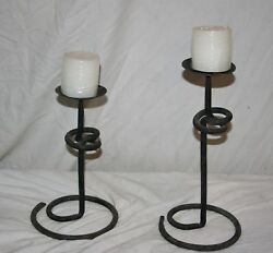 HEAVY WROUGHT IRON PAIR OF RUSTIC COILED FREE STANDING SPIKE CANDLE STANDS