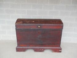 Antique 1700's Immigrant Blanket Storage Trunk Chest 48w X 36h