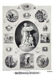 Antique Odd Fellows Illustrated Art Print Poster Ring Ioof Certificate Record