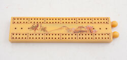 Vintage Yellow Catalin Bakelite Japanese Cribbage Board Etched Mt Fuji E4l