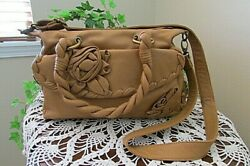 isabella fiore tan brown floral satchel CROSSBODY leather handbag tote NWOT $99.00