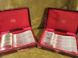 Late 19th C French Sterling Silver 12 Dinner Forks 12 Spoons Louis Xvi St 1952g