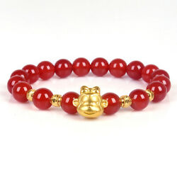 Pure 24k Yellow Gold Bracelet Woman's Crown Monkey Red Agate Link Chain 16cml