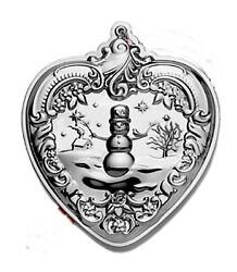 2010 Wallace Heart With Snowman Sterling Christmas Ornament 19th Edition