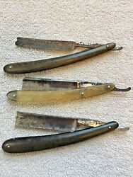 Antique Straight Razors Lot With 2 Boxes