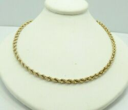 14k Yellow Gold 3mm Rope Chain Necklace 20 Inch 17.9 Grams D9033