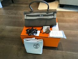 NIB HERMES KELLY ETOUPE SHOULDER TOGO BAG WITH BOX RAIN JACKET LOCK KEY RECEIPT