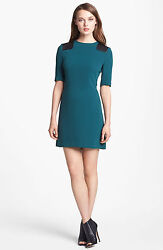 Marc By Marc Jacobs Teal Goblet Dress Short Sleeve Shift Mini Leather Caps 458