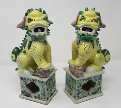 A Pair Of Antique Chinese Famille Verte Porcelain Buddhist Lions Foo Dogs