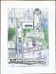 Original Ink And Watercolor Painting Of Fond Du Lac, Wi Edith's And Gilles Custard