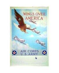 Us Army Air Corps Wings Over America Recruitment Patriotic Propaganda Poster Top