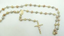 14k Tri Color Gold Beaded Rosary Religious Cross Necklace 38 29.5g D9040