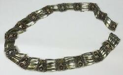 Vintage Taxco Mexico Sterling Silver 925 Pyramid Linked Belt Southwest Marked