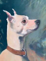 """Vintage 1980s Sheila Butler Manchester Terrier Dog Oil Painting 10.5"""" X 13.5"""""""