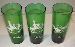 Anchor Hocking Forest Green Glassware Gas Buggy And Open Sleigh 3 Ct Gay Nineties