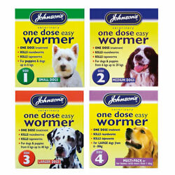 Johnsonand039s One Dose Wormer Puppy Dog Roundworm Tapeworm Worming Tablets All Sizes