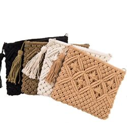 Women Knitted Envelope Handbag Hasp Beach Clutch Braided Ladies Criss Cross Bags $24.59
