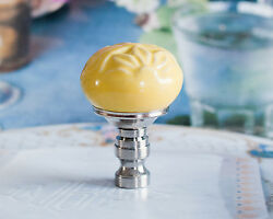 Set Of 2 Gorgeous Yellow Hand Painted Porcelain Lamp Shade Finials Harp Toppers