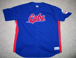 Chicago Cubs Men Large Button-up Embroidered Jersey Dynasty Blue - 2xl-xxl