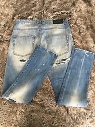 Pierre Balmain Designer Distressed Studded Jeans - Made In Italy