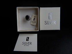Brand New With Gift Box Sterling Silver Black Ring - Silver By Mail / Gift Idea
