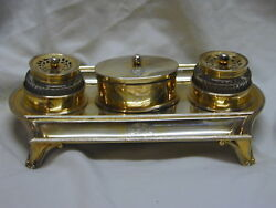 Antique Partners Inkstand Gilt Sterling Silver Coat Of Arms Hallmarked 1795 1820