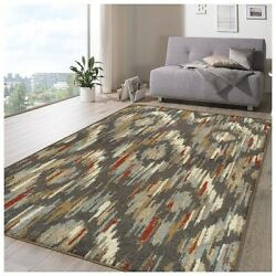 Superior Ikat Solitaire Muti-color 8' X 10' Area Rug Modern Contemporary
