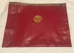 Vintage Rca Industrial Tubes Factory Worker Pouch Bag Paperwork Holder Red Zip