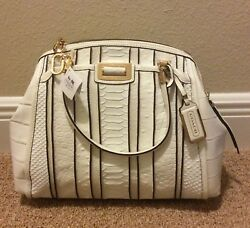 Coach Madison Domed Satchel In Exotic Stripe Leather 30103 Li/white Multi Nwt