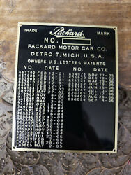 Packard 1901 To 1909 Patent Data Plate Acid Etched Brass