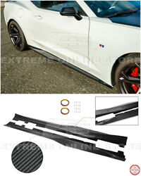 Zl1 Style Carbon Fiber Side Skirts Rocker Panels Pair For 16-18 Camaro Ss Rs