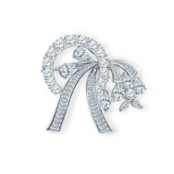 8.00Ctw Mix Shaped Diamond Convertible Brooch & Pendant in Ribbon Floral Design