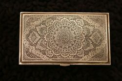 Magnificent Persian Isfahan Silver Box Presented From Foreign Minister Marked