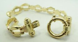 18k Yellow Gold Rose/white Brushed Open/dotted Bracelet 6.5 24.5g D9262