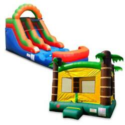 Pogo Rainbow Water Slide And Tropical Bounce House Premium Inflatables W/ Blowers