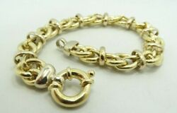 18k Yellow And White Gold Wrapped Ribbon Link Bracelet 12mm 7.5 29.3g D9294