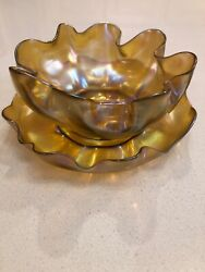 Lct Favrile Master Salt Cellar Series Late 1800andrsquos Bowl And Saucer Mint
