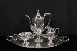 Antique Gorham / Bailey Banks And Biddle 4 Piece Sterling Silver Coffee Set W/tray