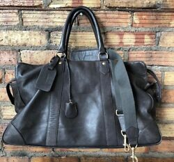 Lanvin Chocolate Brown Full Leather Duffle Bag Overnight Carryon